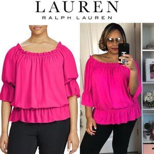 Lauren Ralph Lauren 2X Hot Pink Off Shoulder Top